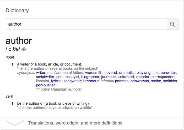 Dictionary definition of author - What is an author